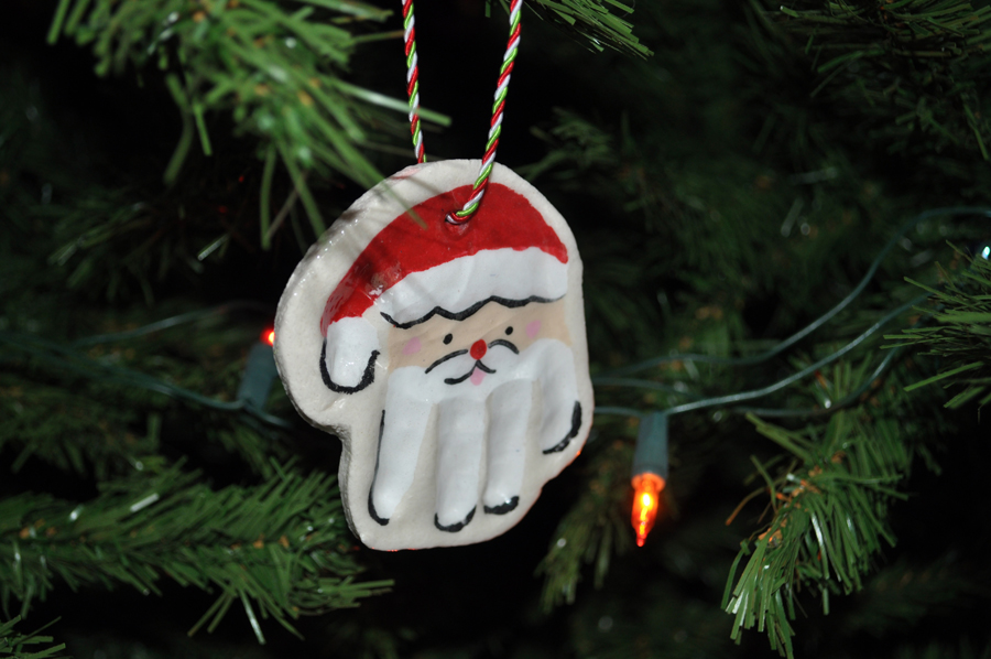 Look What We Made Hand Print Santa Ornaments  The Karpiuks