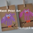 owl hand print art - thekarpiuks