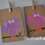 hand print owl paintings